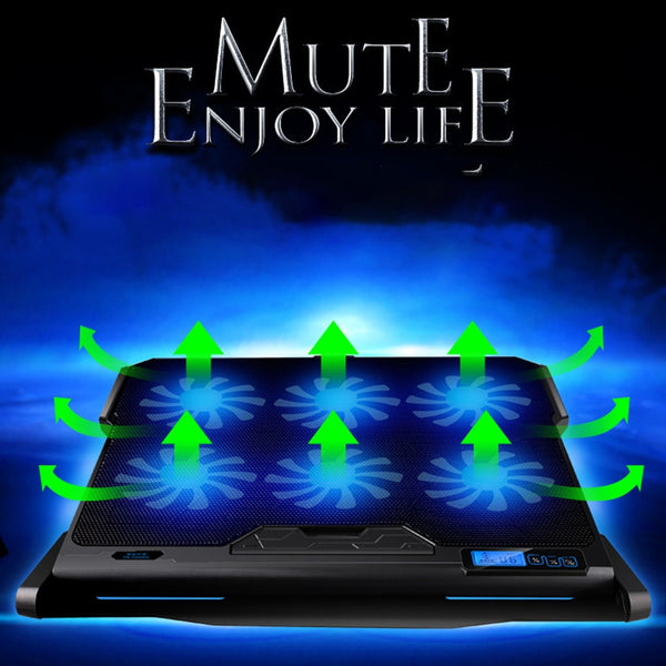 6 Fans Gaming Laptop Cooling 2 USB Ports Laptop Cooler Stand With Light LCD Display Notebook Cooler