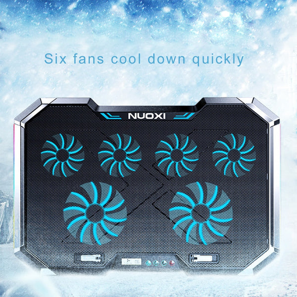 Laptop Cooling Stand 6 Fans Notebook Radiator 2 USB 6 Speed Touch Control Quiet Efficient Cooling
