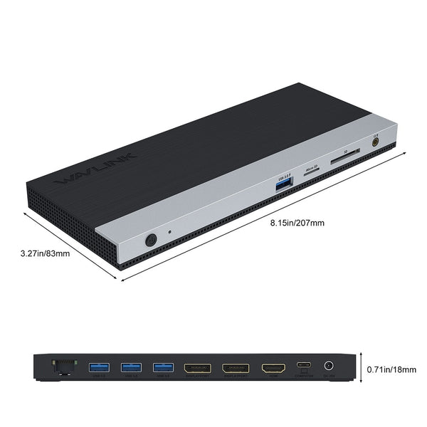 USB-C Triple Display Docking Station 4K 2K@60Hz with 2 DP+1 HDMI Gigabit Ethernet 65W Power Delivery