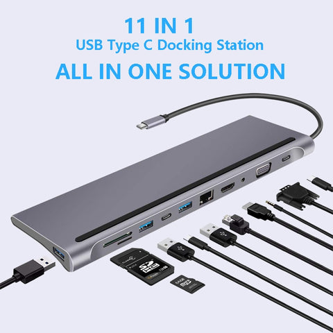 USB Type C Hub Adapter Laptop Docking Station HDMI VGA RJ45 Ethernet Gigabit Port PD SD Compatible