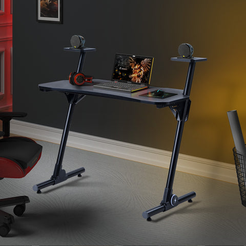 Home Office Gaming Computer Desk Z-Shaped Workstation with Carbon Fiber Surface and Headphone Hook