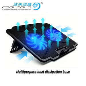 Laptop Cooler with 2 Fans 2 USB Ports Led Light and Cooling Pad with Laptop Stand Adjustable