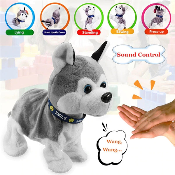 Electronic Robot Dog Kids with Sound Control Interactive Bark Stand Walk 8 Movements Plush Toy