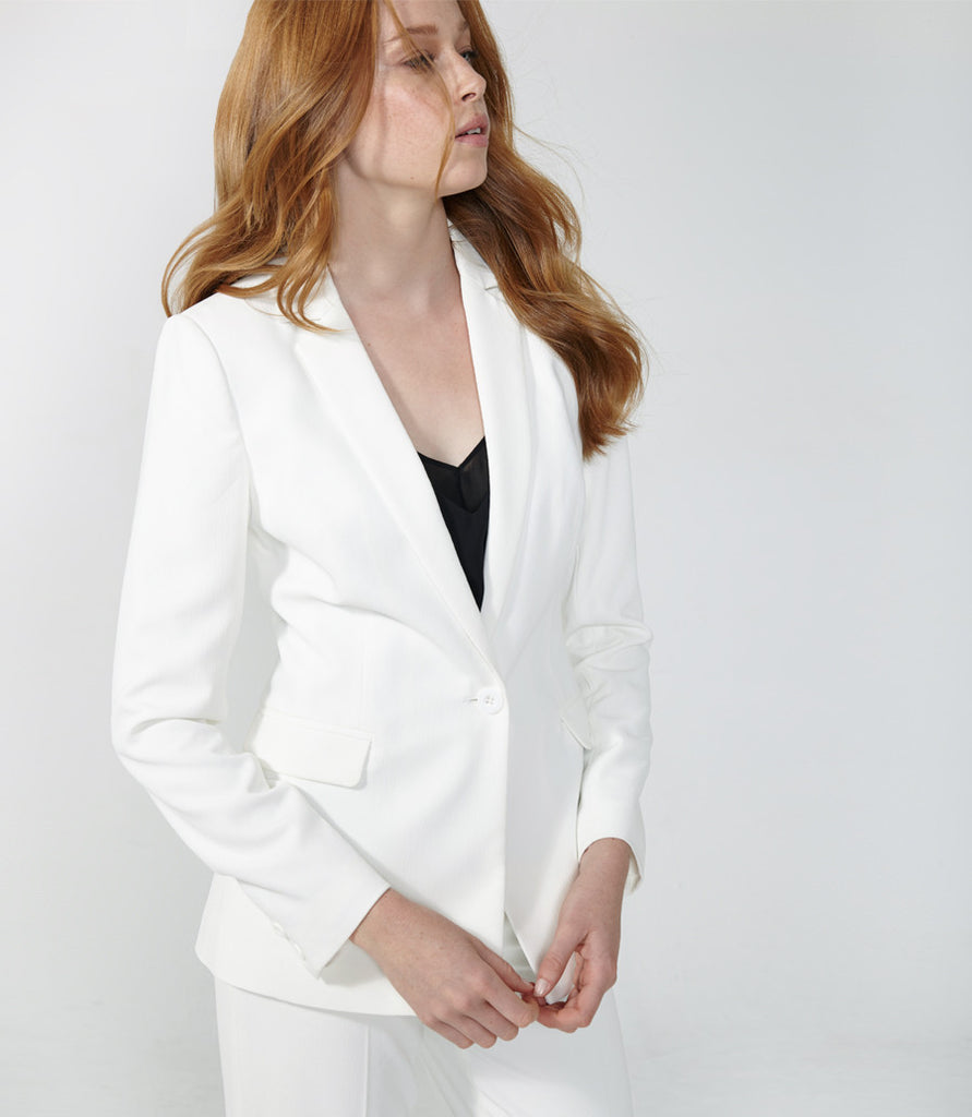 Textured White Blazer