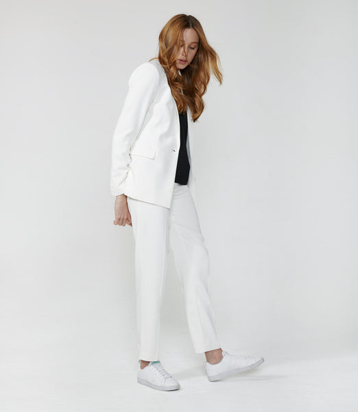 Textured White Suit Trousers
