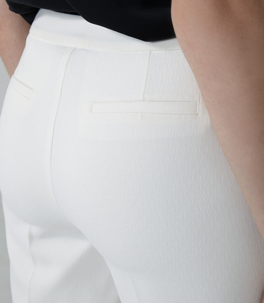 Textured White Trousers
