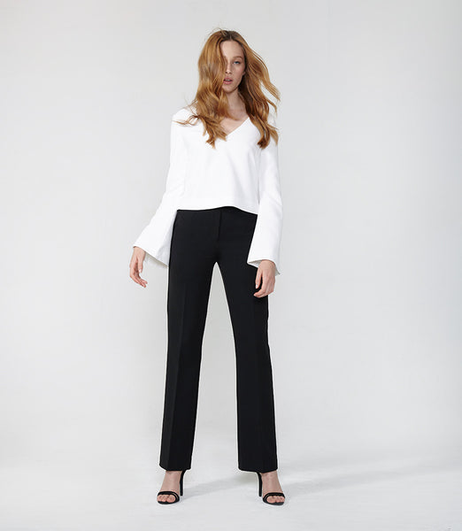 Black Structured Flare Pants