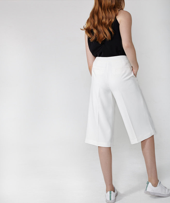 Textured White Culotte