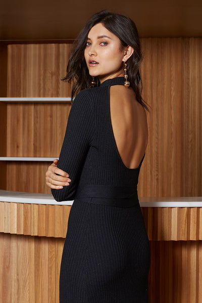 Midnight Open Back Knit Dress