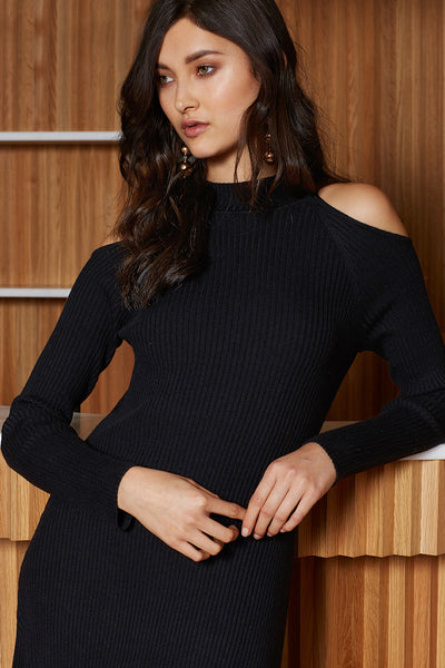 Cut Out Shoulder Knit Dress