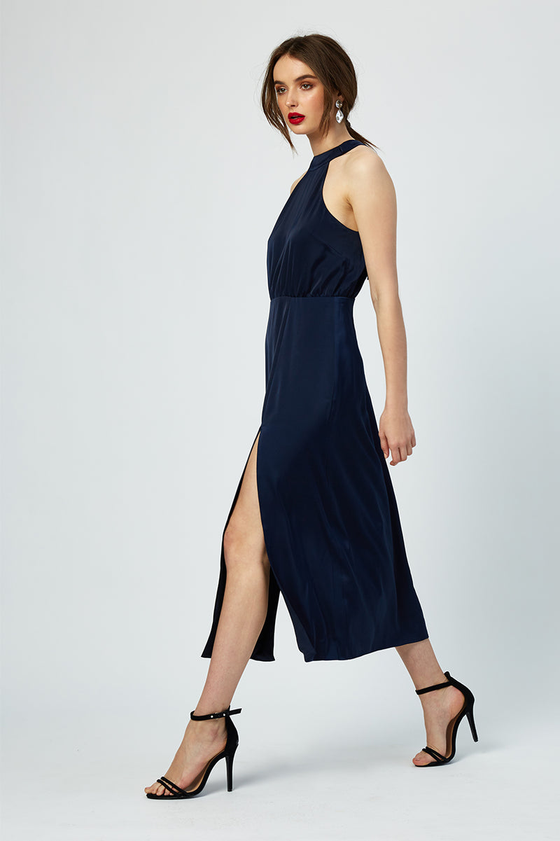 Constance Double Slit Satin Dress