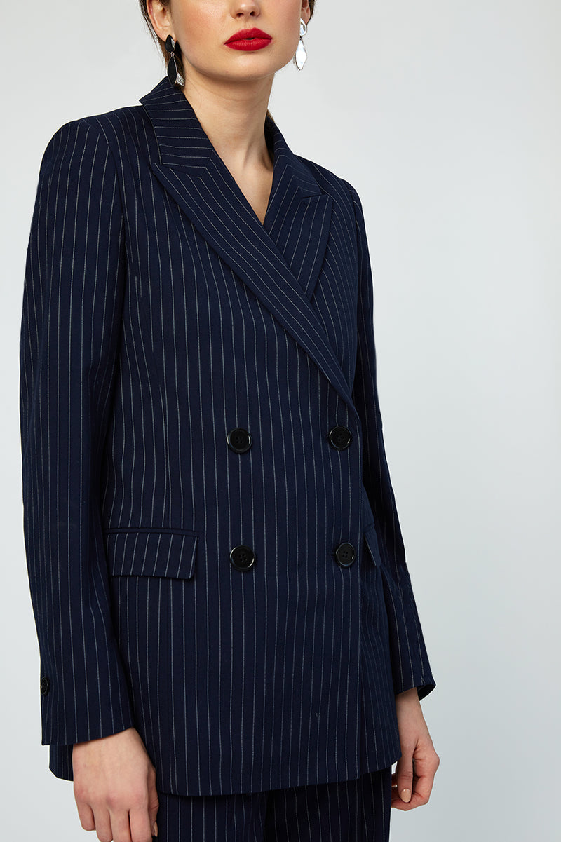 Cecile Navy Striped Blazer