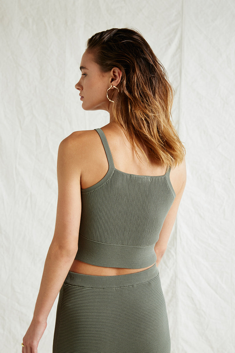 Friend of Audrey Andrea Crop Knit Top Olive