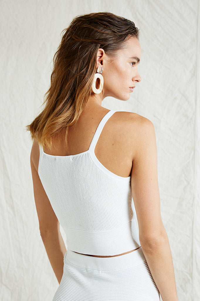 Friend of Audrey Andrea Crop Knit Top White