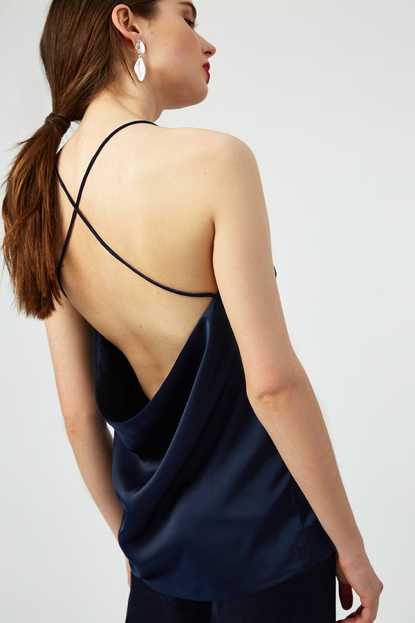 Constance Backless Satin Top