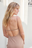 Friend of Audrey Ellie Open Back Midi Dress Nude