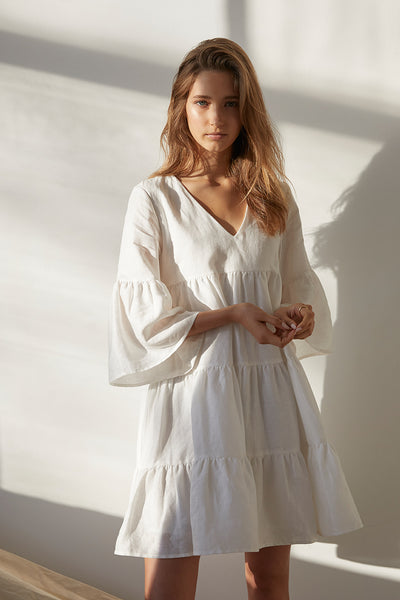 Friend of Audrey Nico Linen Tiered Dress