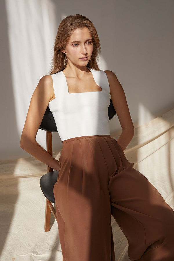 Friend of Audrey Pleated Wide Leg Pants Tan