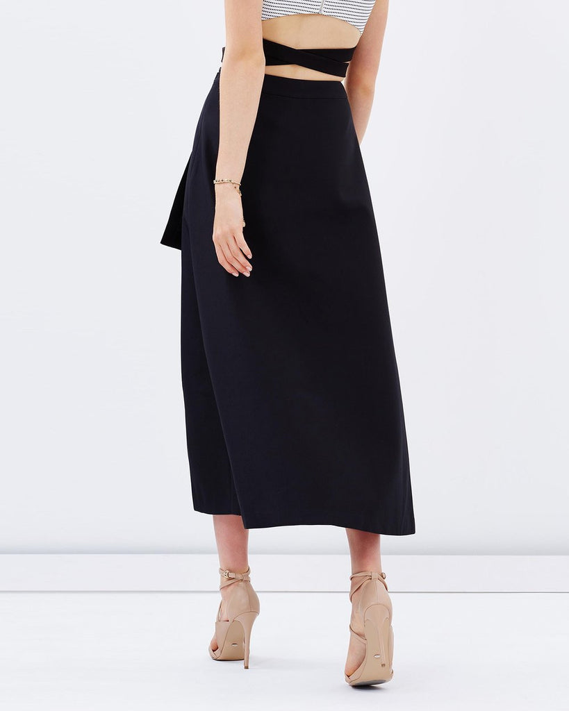 Asymmetry Black Wrap Evening Skirt