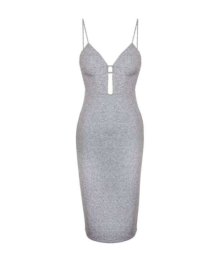 Friend of Audrey Grey Marl Bonded Cut Out Dress