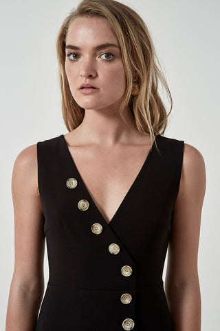 Friend of Audrey Dylan Buttoned Dress Black