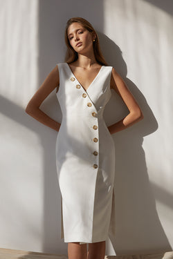 Friend of Audrey Dylan Buttoned Dress White