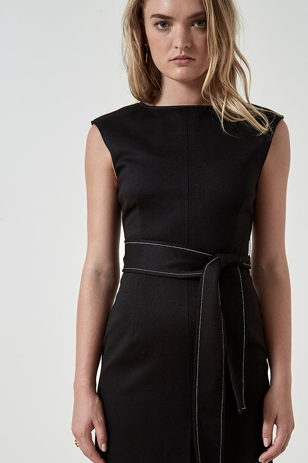 Friend of Audrey Zuri Contrast Stitching Midi Dress