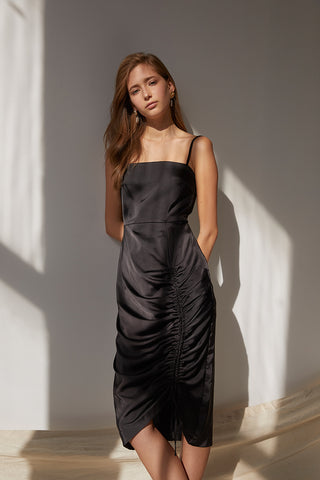 Friend of Audrey Sienna Drawstring Midi Dress