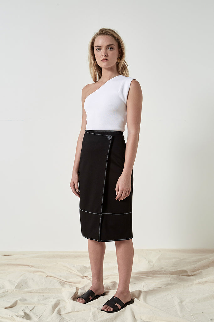 Friend of Audrey Zuri Contrast Stitching Skirt