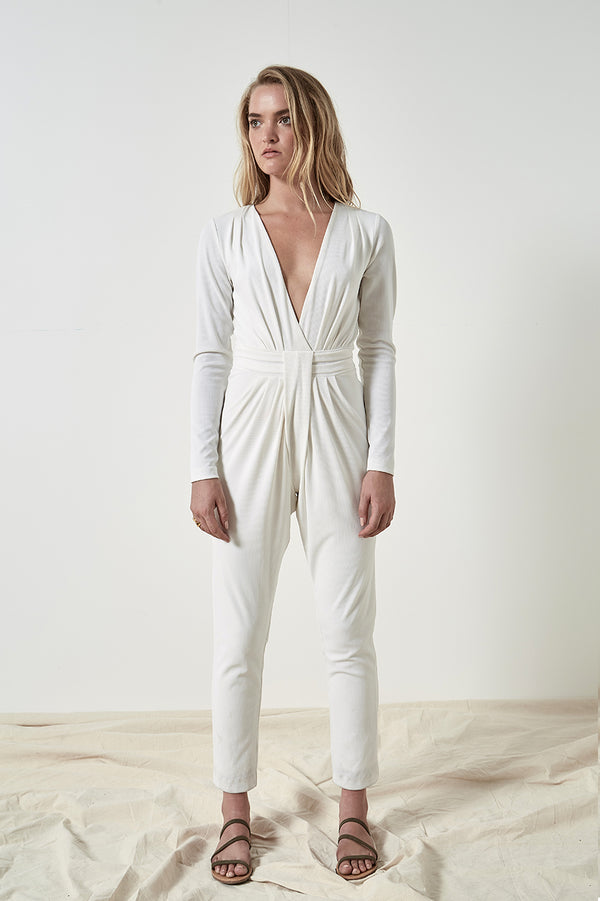 Friend of Audrey Lea Plunging Twist Jumpsuit