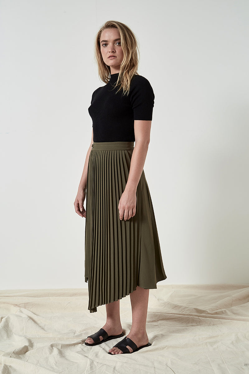 Friend of Audrey Nathalie Pleated Asymmetry Skirt