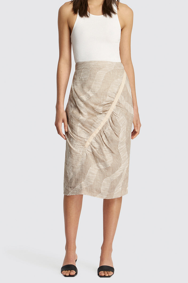 Nadine Gathered Linen Print Skirt