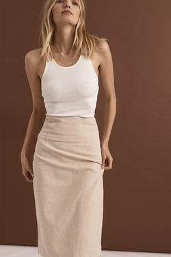 Essentials Linen Midi Skirt