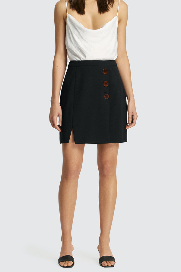Poppy Resin Buttoned Mini Skirt