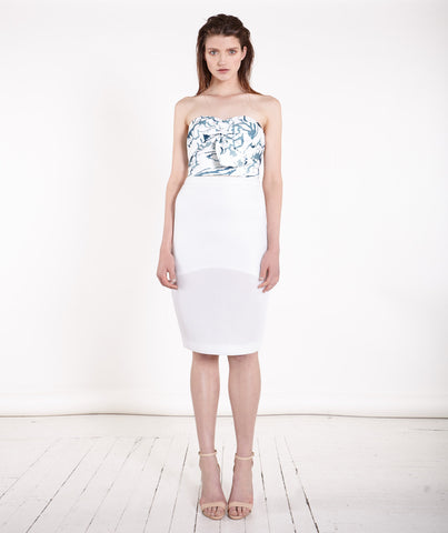 Dreamer White Panel Contrast Pencil Skirt