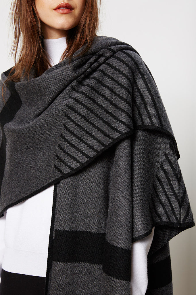 Graphic Charcoal Shawl