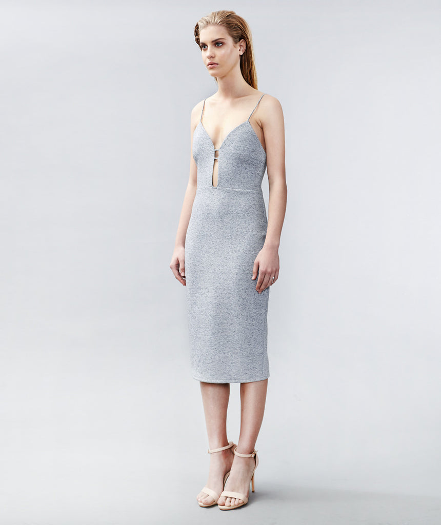 Grey Marl Bonded Cut Out Dress
