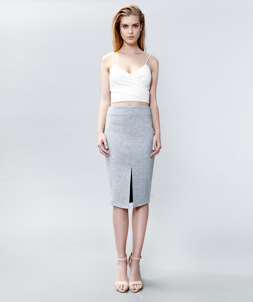 Grey Marle Front Split Pencil Skirt