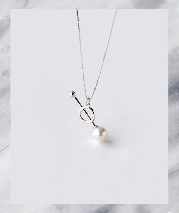 The Minimalist Silver Pearl Necklace l Friend of Audrey