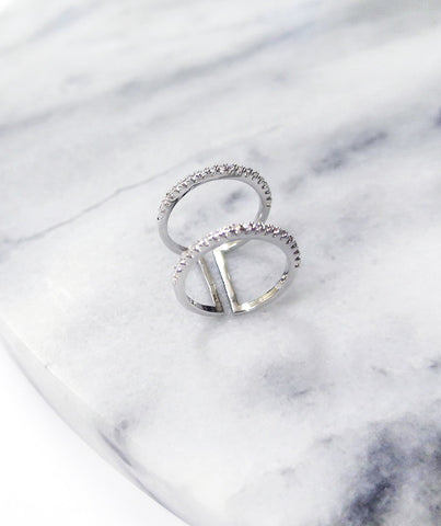 The Minimalist Silver Double Ring l Friend of Audrey
