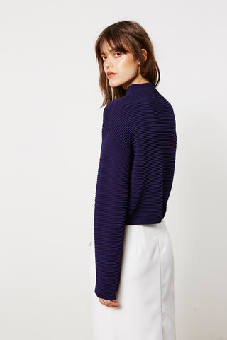 Navy Ribbed Knit