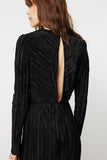 Pleated Black Evening Gown