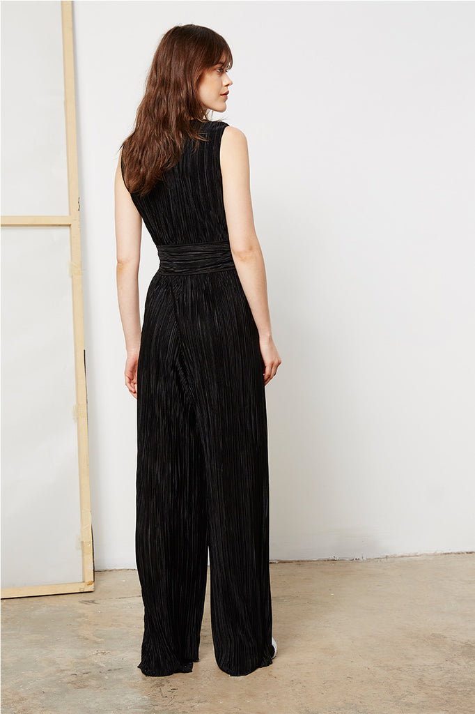 Pleated Black Jumpsuit