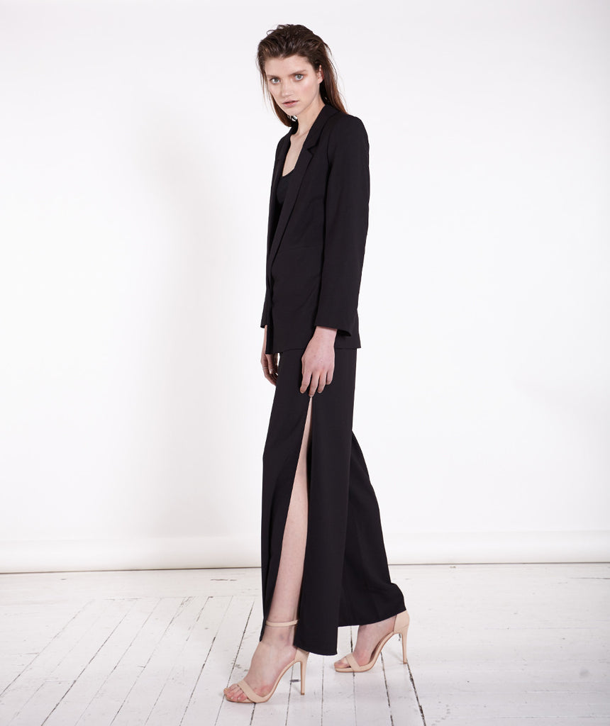 Side Split Black Wide Leg Palazzo Pants