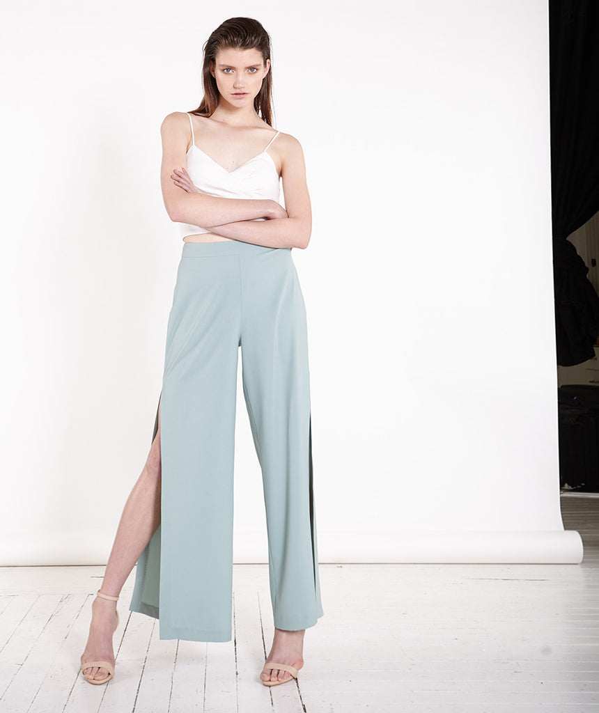 Side Split Lucite Green Wide Leg Palazzo Pants