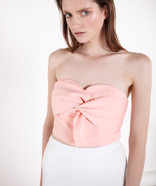 Twist Bow Pink Bustier Top
