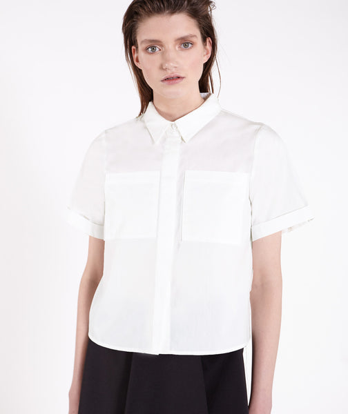 White Cropped Boxy Pocket Shirt