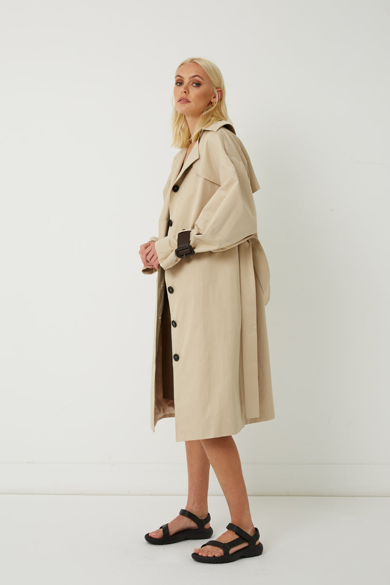 Marle Oversized Cotton-Blend Trench Coat