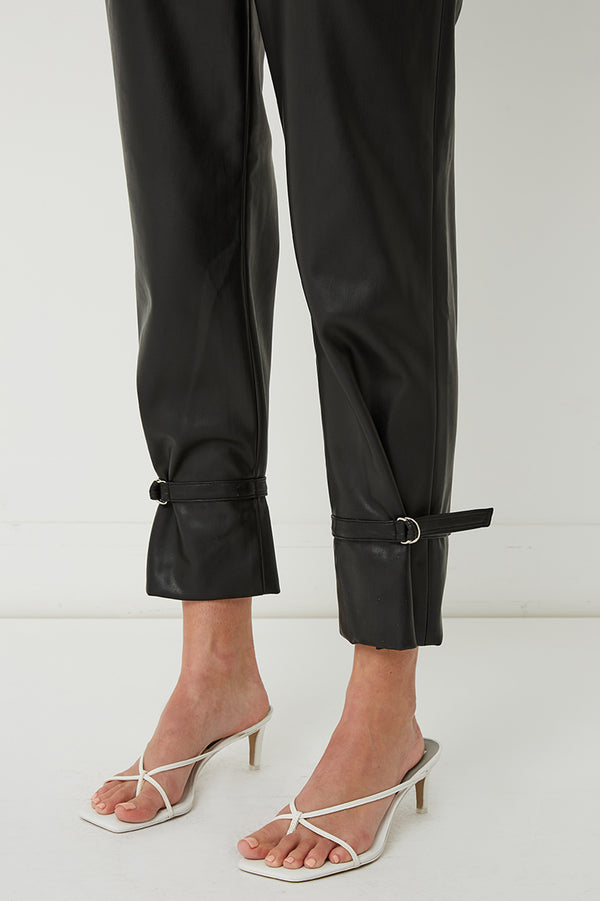 Alex Belted Vegan Leather Tapered Pants