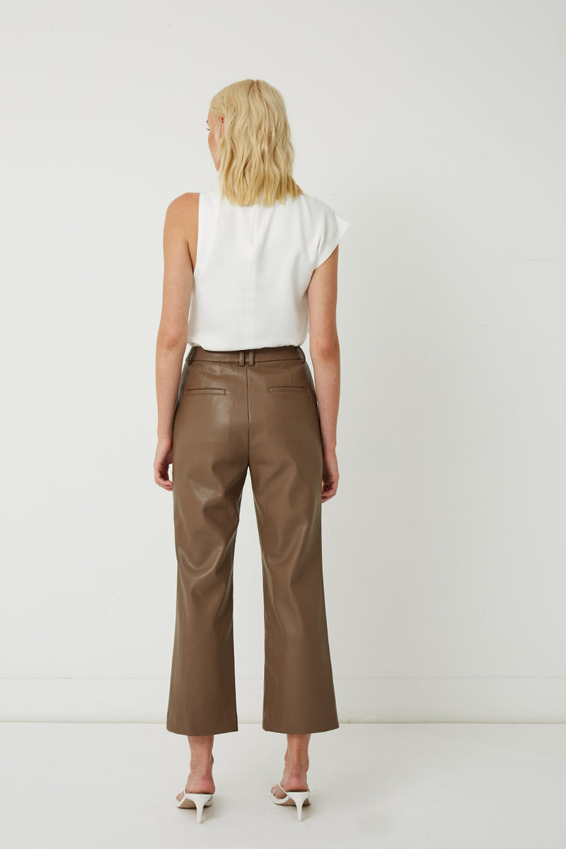 Alex Cropped Vegan Leather Straight-Leg Pants
